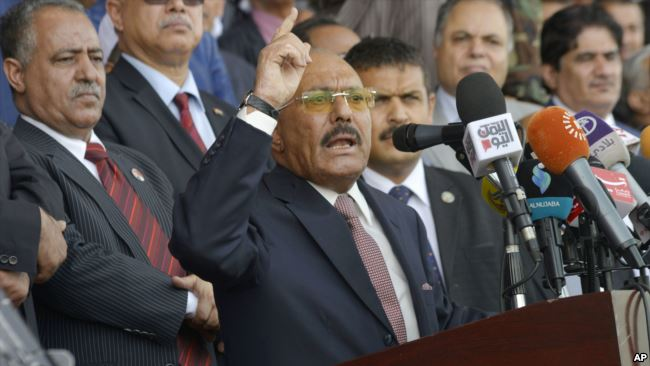 Yemen's former President Ali Abdullah Saleh speaks during a ceremony marking the 35th anniversary of his General People's Congress party (GPC) establishment in Sanaa, Yemen, Thursday, Aug. 24, 2017. The (GPC) was founded in August 24, 1982 led by former Yemen's President Ali Abdullah Saleh during his 33 years rule until he stepped down from power after last year's protests. (AP Photo/Hani Mohammed)