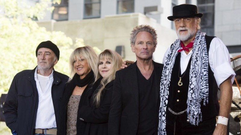 """John McVie, from left, Christine McVie, Stevie Nicks, Lindsey Buckingham and Mick Fleetwood from the band Fleetwood Mac appear on NBC's """"Today"""" show on Thursday, Oct. 9, 2014, in New York. (Photo by Charles Sykes/Invision/AP)"""