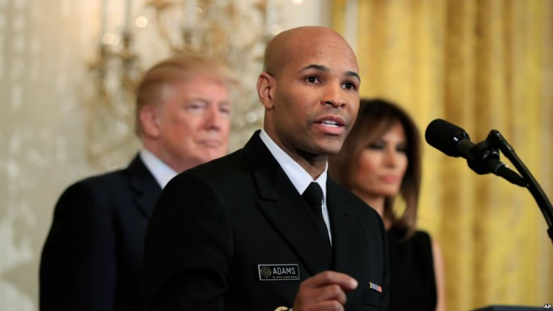 Surgeon General Jerome Adams, speaks during a National African American History Month reception hosted by President Donald Trump and first lady Melania Trump in the East Room of the White House, Tuesday, Feb. 13, 2018, in Washington. (AP Photo/Manuel Balce Ceneta)