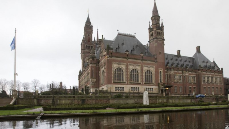 Exterior view of the International Court of Justice, or World Court, in The Hague, Netherlands, Friday, Feb. 2, 2018. The International Court of Justice delivers its rulings in two cases that will map out disputed maritime and land boundaries between Costa Rica and Nicaragua. (AP Photo/Peter Dejong)