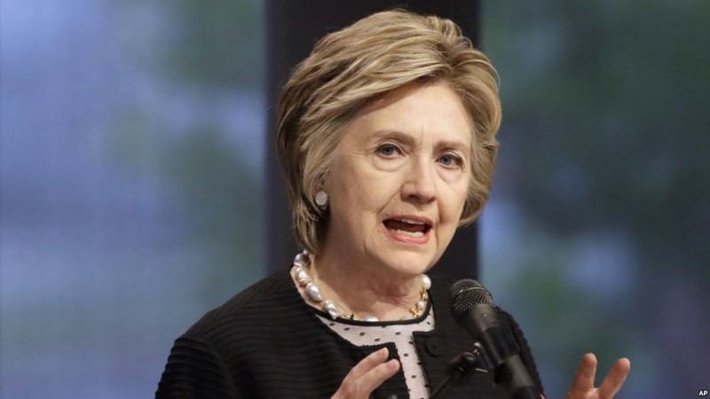 FILE - In this June 5, 2017 file photo, former Secretary of State Hillary Clinton speaks in Baltimore. Clinton lost the 2016 election to President Donald Trump, but some Republicans in Congress are intensifying their calls to investigate her and other Obama administration officials. (AP Photo/Patrick Semansky, File)